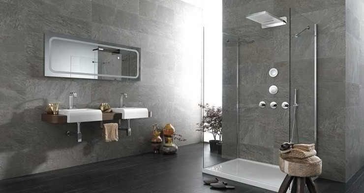 grey with lighting mirror Contemporary Bathroom Design by Porcelanosa