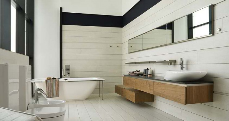 simple white with wood furniture Contemporary Bathroom Design by Porcelanosa
