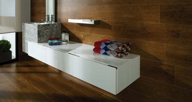 wood Contemporary Bathroom Design by Porcelanosa