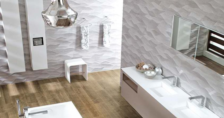 white with wood floor Contemporary Bathroom Design by Porcelanosa