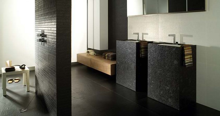 black sink Contemporary Bathroom Design by Porcelanosa 30