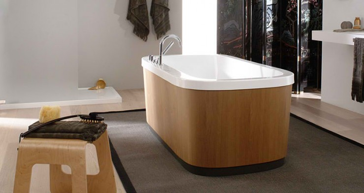 Contemporary Bathroom Design with wood free standing tub by Porcelanosa