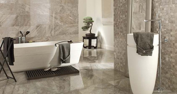 grey marble Contemporary Bathroom Design by Porcelanosa