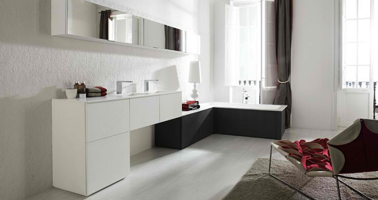 black and white modern Bathroom Design by Porcelanosa
