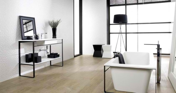 white with modern freestanding tub Contemporary Bathroom Design by Porcelanosa
