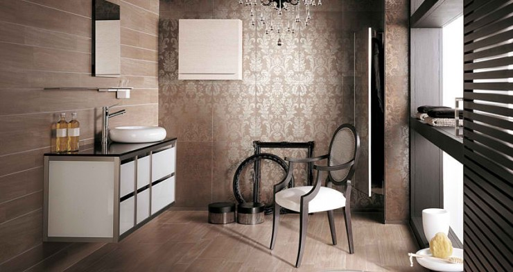 brown Contemporary Bathroom Design by Porcelanosa