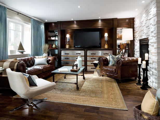 brown color living room