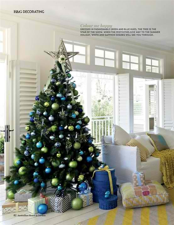 christmas tree decorating ideas 22 - Blue White Christmas Decorating Ideas