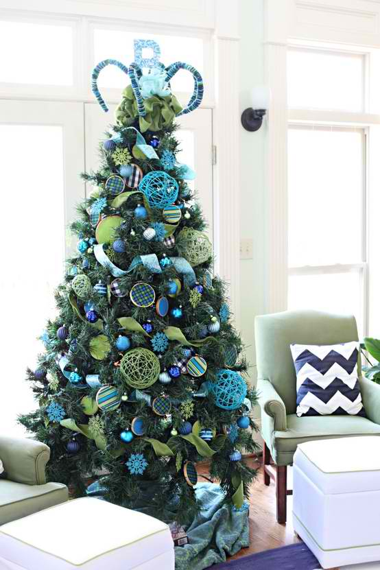 christmas 23 tree decorating ideas - Blue And White Christmas Decorations