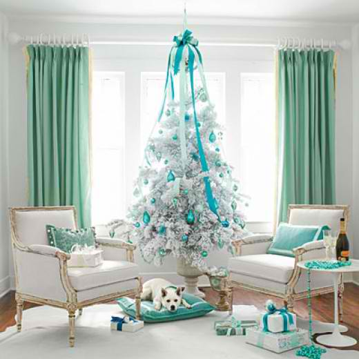White christmas tree with blue and green decorations - photo#12
