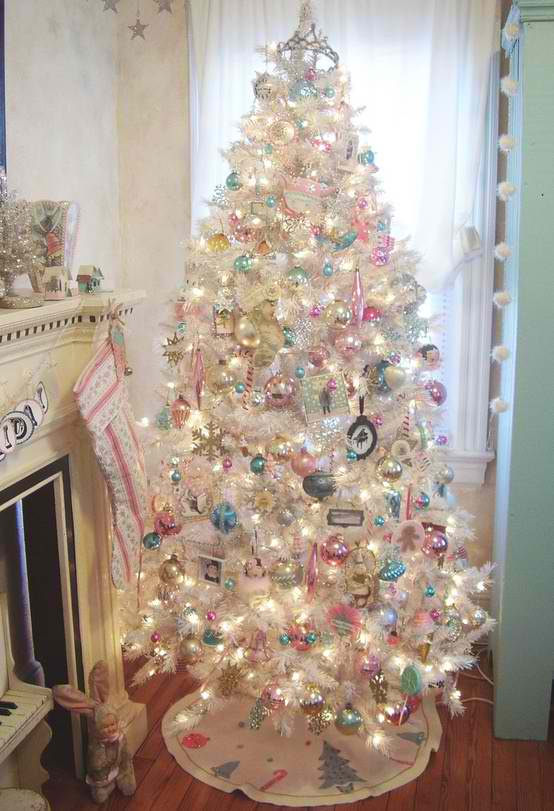 christmas tree decorating ideas 29 - White Christmas Tree With Blue And Silver Decorations