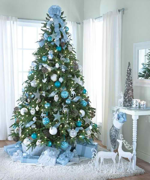 Blue and silver decorated Christmas tree.