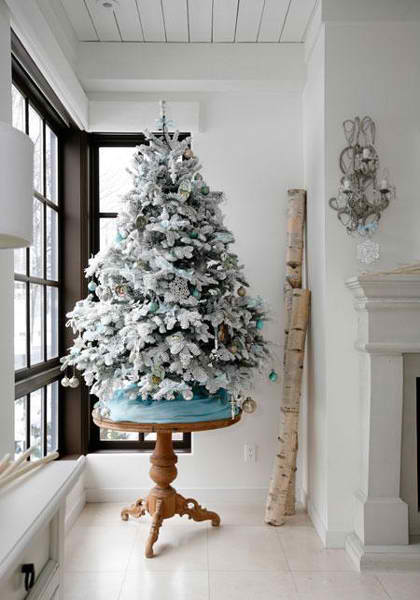 christmas tree decorating ideas 8 - White Christmas Tree With Blue And Silver Decorations
