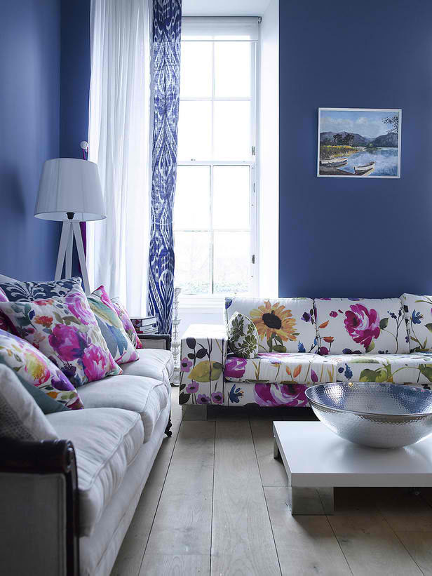 Floral couch wall colors floral prints living rooms farrow ball blue wall colors schemes - Blue living room color schemes ...