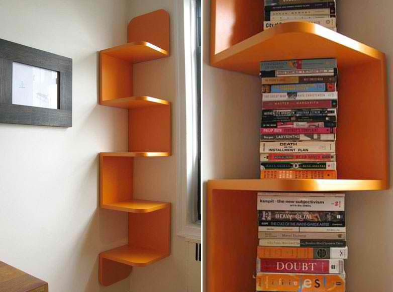 Elegant Modern Orange Corner Shelf By William Feeney