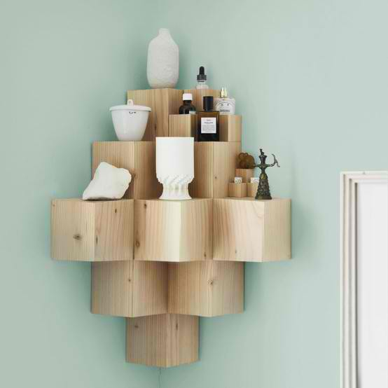 Solid Wood Corner Shelf 11