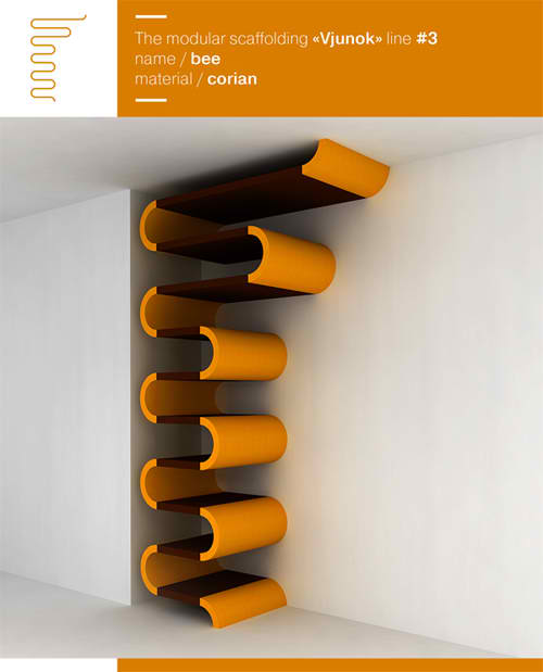 modular corner shelf made by corian