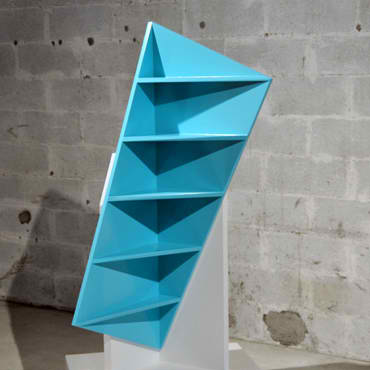 turquoise corner shelf by Marc Kandalaft
