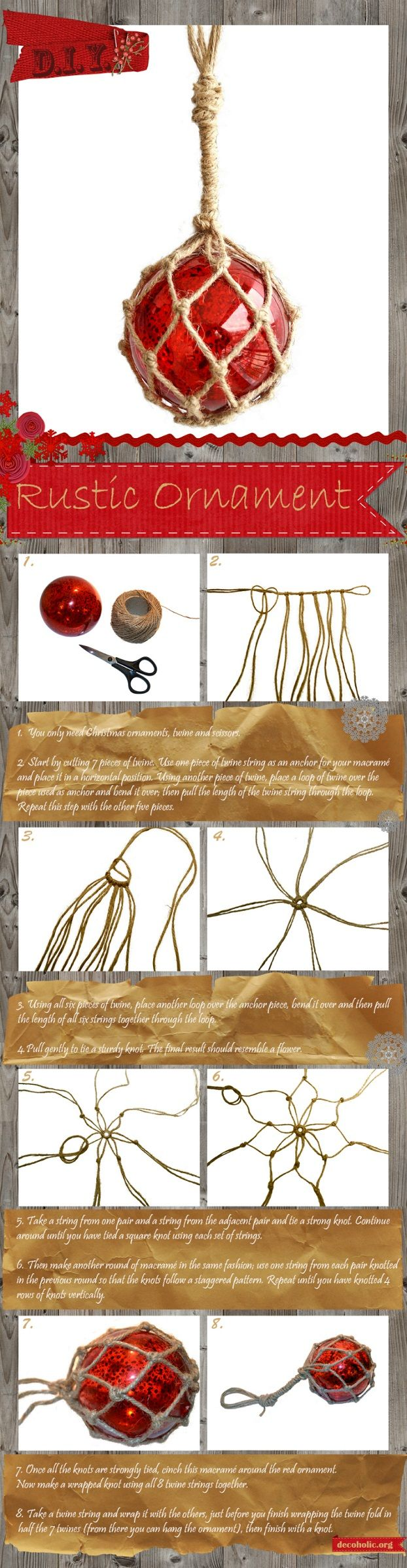 DIY Christmas craft macrame rustic ornament