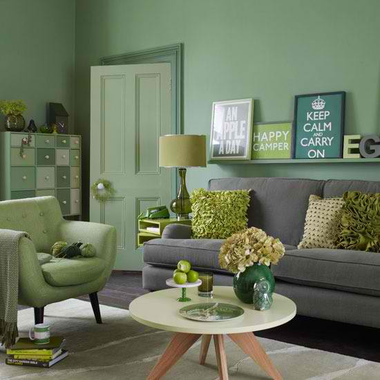 26 amazing living room color schemes decoholic - Green and grey room ideas ...