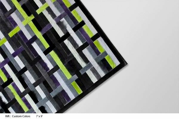 black lime green and grey cow hide rug by kyle bunting
