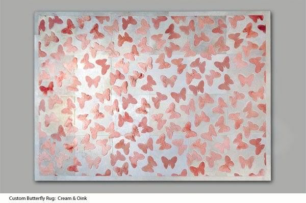 white and pink butterfliesdesign cow hide rug by kyle bunting