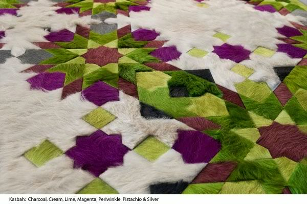green purple and white cow hide rug by kyle bunting