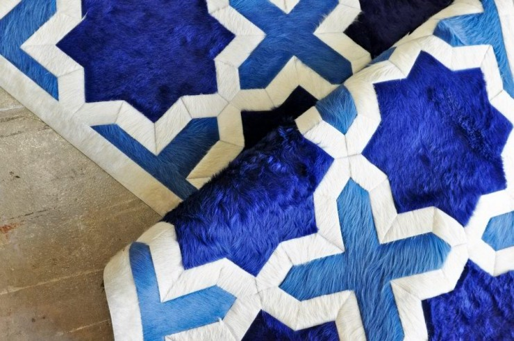 blue modern cow hide rug by kyle bunting