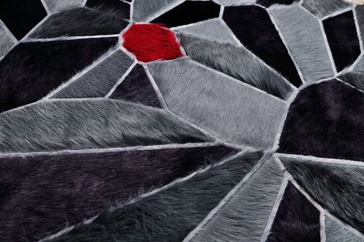 black grey and red cow hide rug by kyle bunting