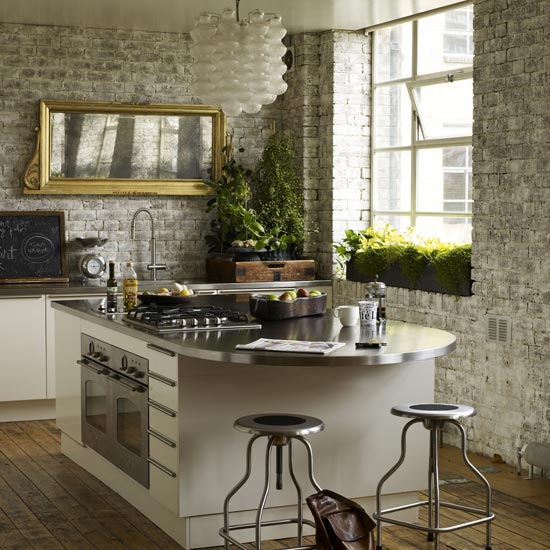 Brick Wall In Kitchen Walls White Wallpaper Grey Effect Tiles