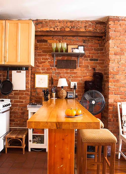 kitchen with brick wall 2