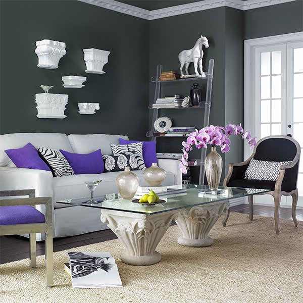 26 amazing living room color schemes decoholic Grey and purple living room