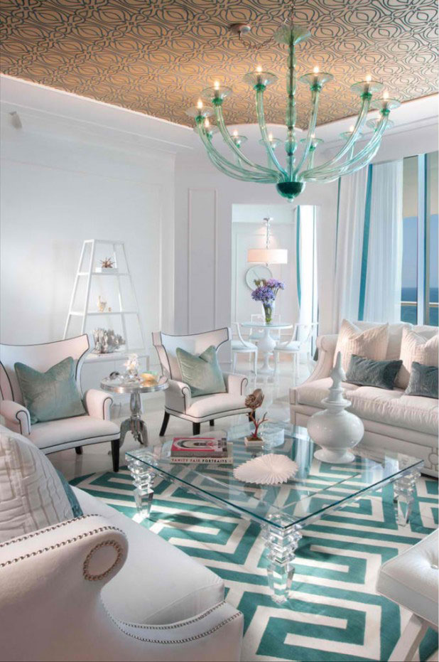 living room white turquoise color scheme