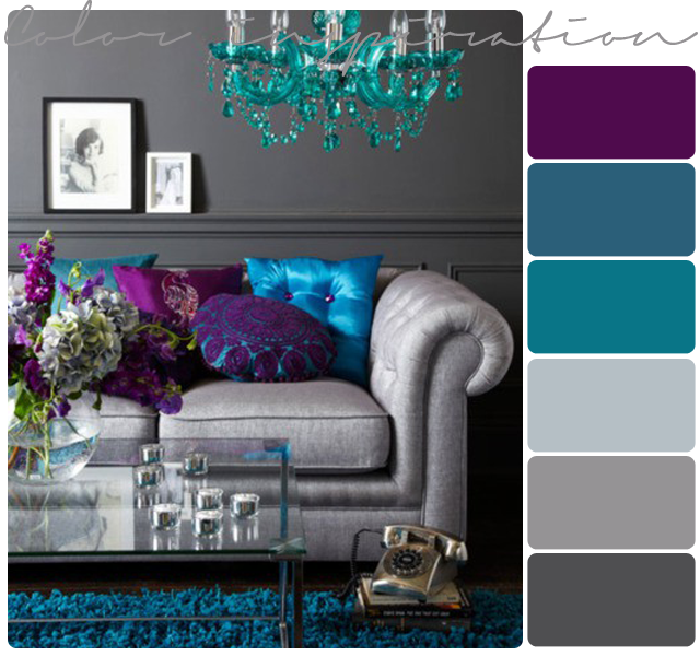 Purple gray turquoise and purple on pinterest for Purple and grey living room decorating ideas