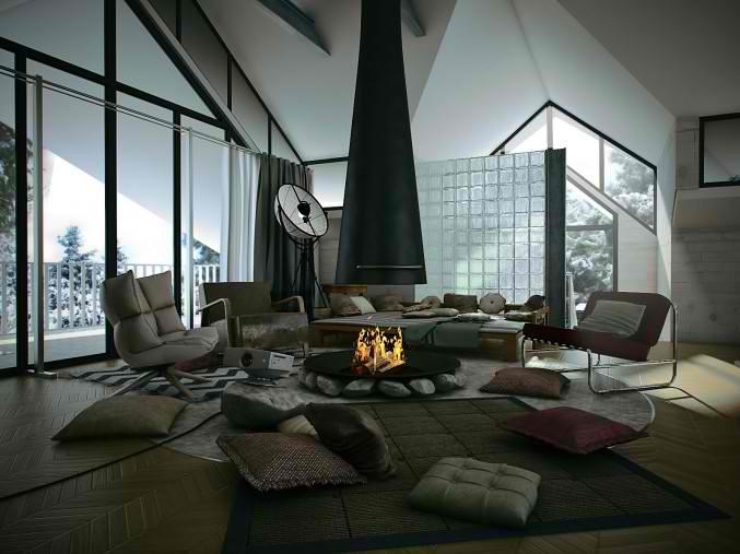 attic living room design with free standing central fireplace