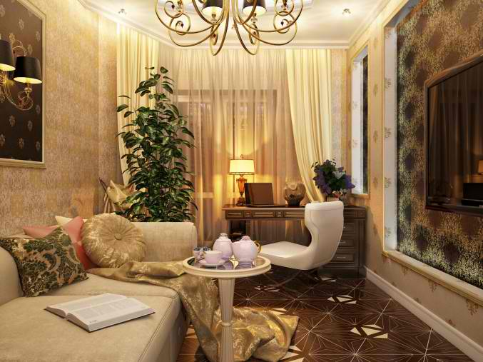 small gold luxury living room design 14