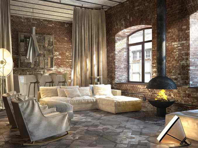 small living room with brick walls 17
