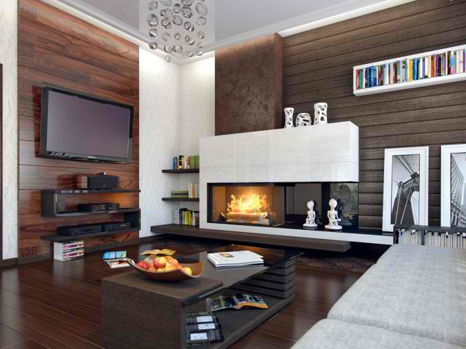 small living room  design with adorable fireplace