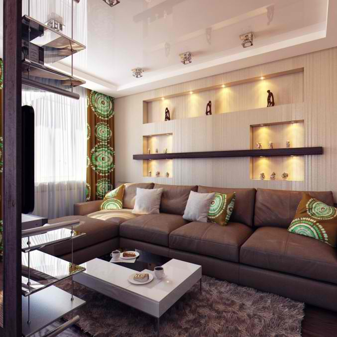 brown and green living room design 3