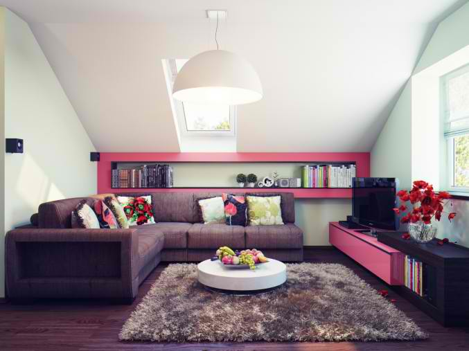 small attic brown and pink living room design