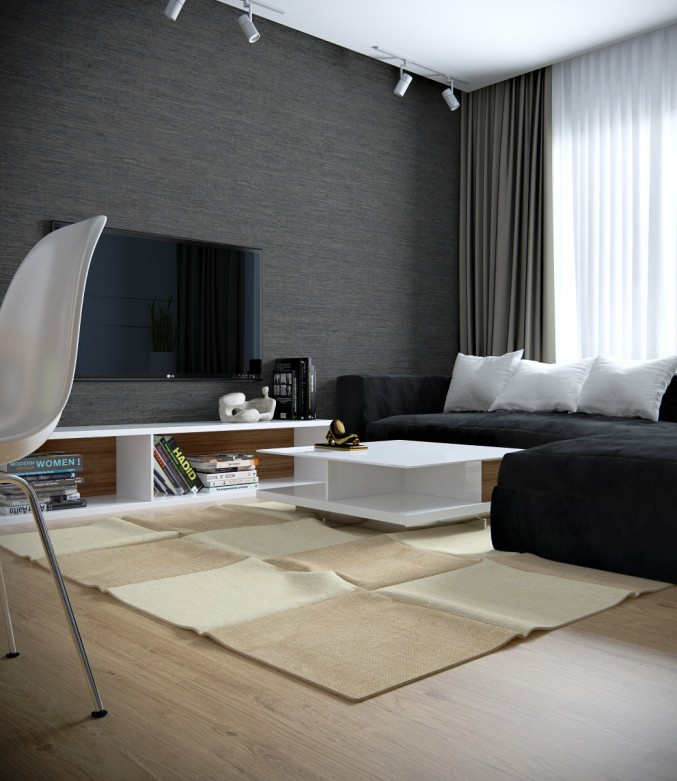 modern small living room design with black sectional sofa 7