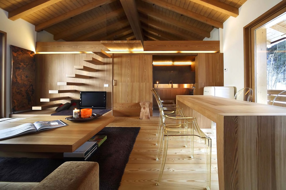 Modern wood house interior design by gianluca fanetti