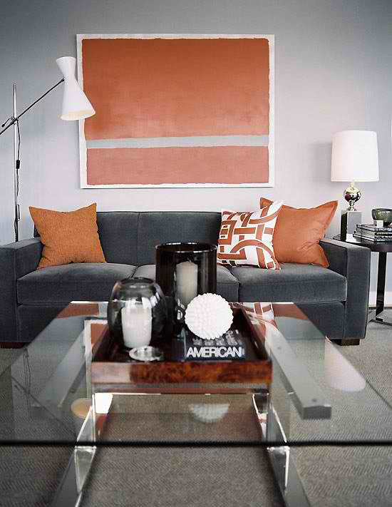 Orange And Grey Livng Room Color Scheme Living