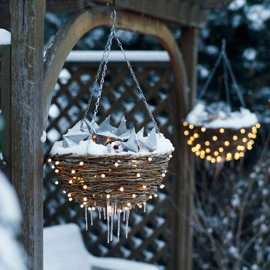 outdoor christmas decorations basket with lights
