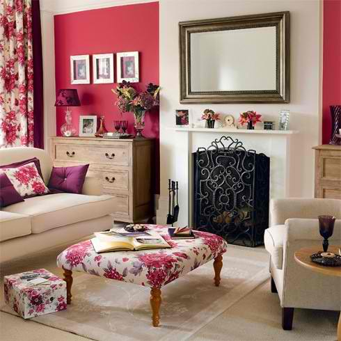 pink living room color scheme