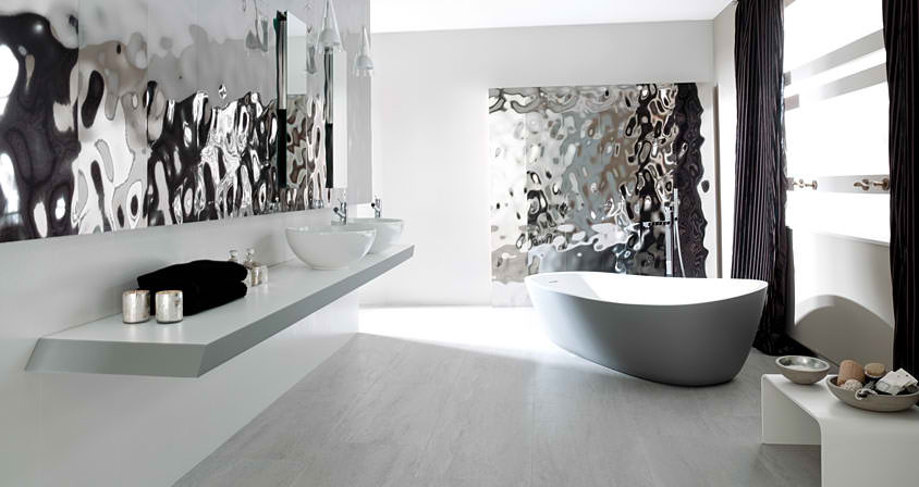 Charming Contemporary Silver And White Bathroom Design By Porcelanosa