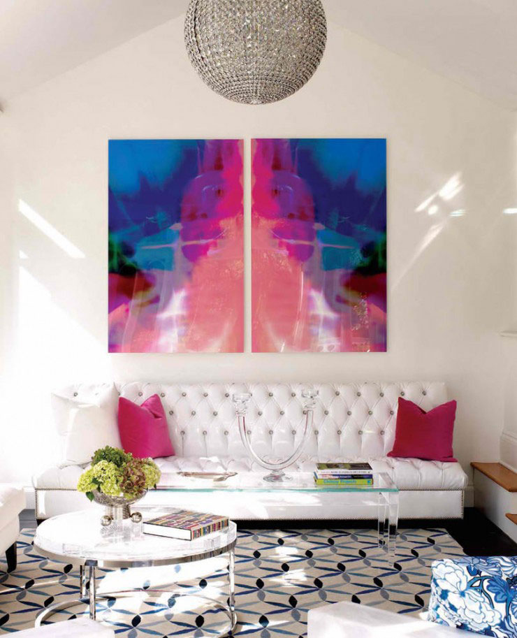 White Blue And Pink Living Room Color Scheme