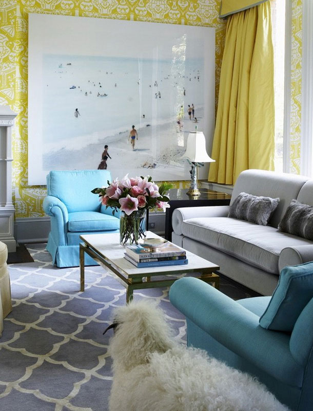 Yellow And Blue Living Room Color Scheme Rooms