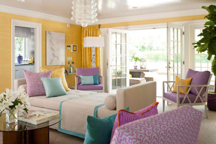 yellow turquoise purple living room color scheme