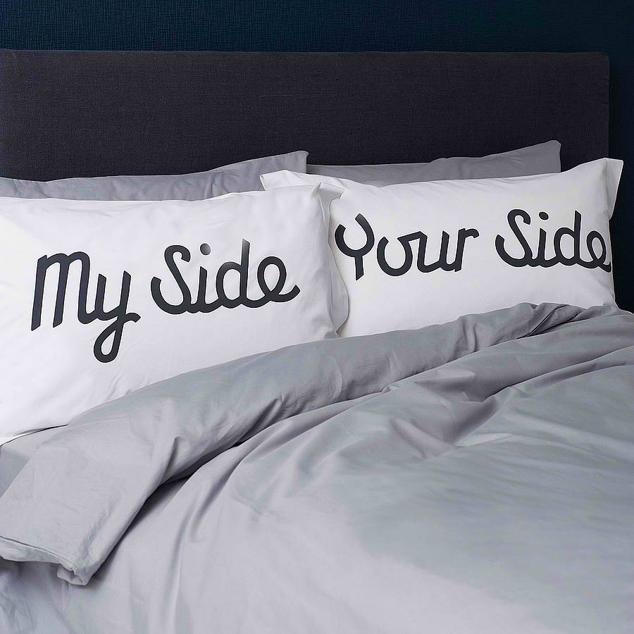 39 my side your side 39 pillowcases decoholic. Black Bedroom Furniture Sets. Home Design Ideas